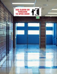 Open Door Corrugated Plastic Ceiling Sign