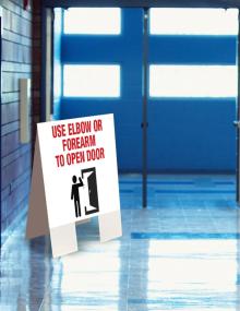 Use Elbow or Forearm to Open Door Indoor Floor Sign