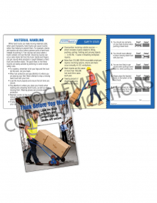 Material Handling – Think Before – Safety Pocket Guide with Quiz Card