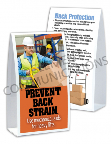 Back Safety – Mechanical Aid –Table-top Tent Cards