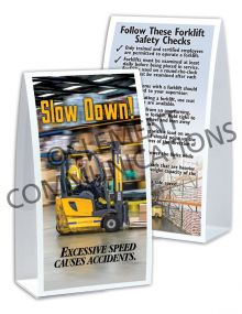 Forklift Safety - Slow Down Table-top Tent Cards