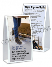 Slips, Trips, Falls – Stay On Your Feet - Table-top Tent Cards