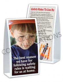Safety Rules – Child Waiting at Home – Table-top Tent Cards