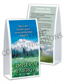 Environmental Safety – Conserve – Table-top Tent Cards