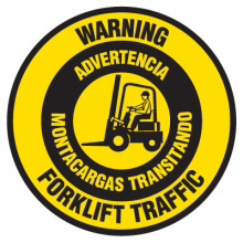 Floor Safety Signs - Warning Forklift Traffic (Bilingual)