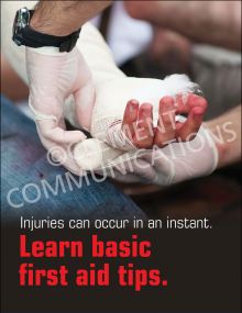 Learn Basic First Aid Tips Poster