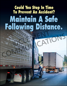Maintain A Safe Following Distance Poster