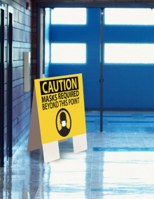 CAUTION: Mask Required Beyond This Point Indoor Floor Sign