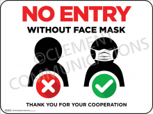 No Entry Without Face Mask Indoor Sign