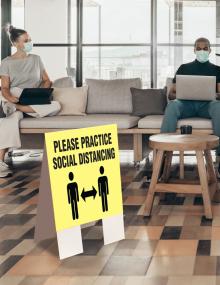 Please Practice Social Distancing Indoor Floor Sign