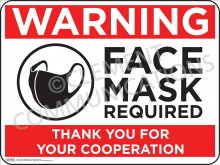 Warning Face Mask Required Indoor Sign