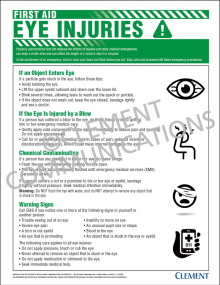 First Aid - Eye Injuries Poster