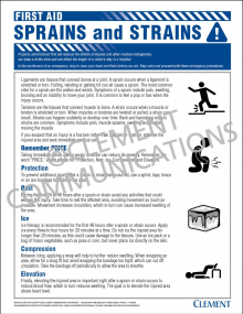 First Aid - Sprains and Strains Poster