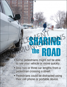 Winter Hazards - Sharing The Road - Poster