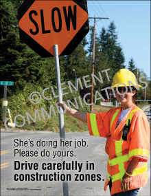 Drive Carefully in Construction Zones Poster