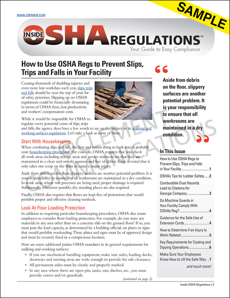 The Construction Foreman's Guide to OSHA Regulations Newsletter