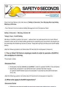 Safety in Seconds Newsletter